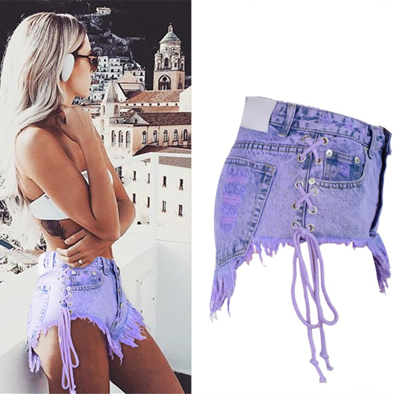 Highwaisted Mini Jeans Shorts Women Both Side Tie Mini Short Sexy Denim Shorts Jeans - Sheseelady
