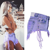 Highwaisted Mini Jeans Shorts Women Both Side Tie Mini Short Sexy Denim Shorts Jeans