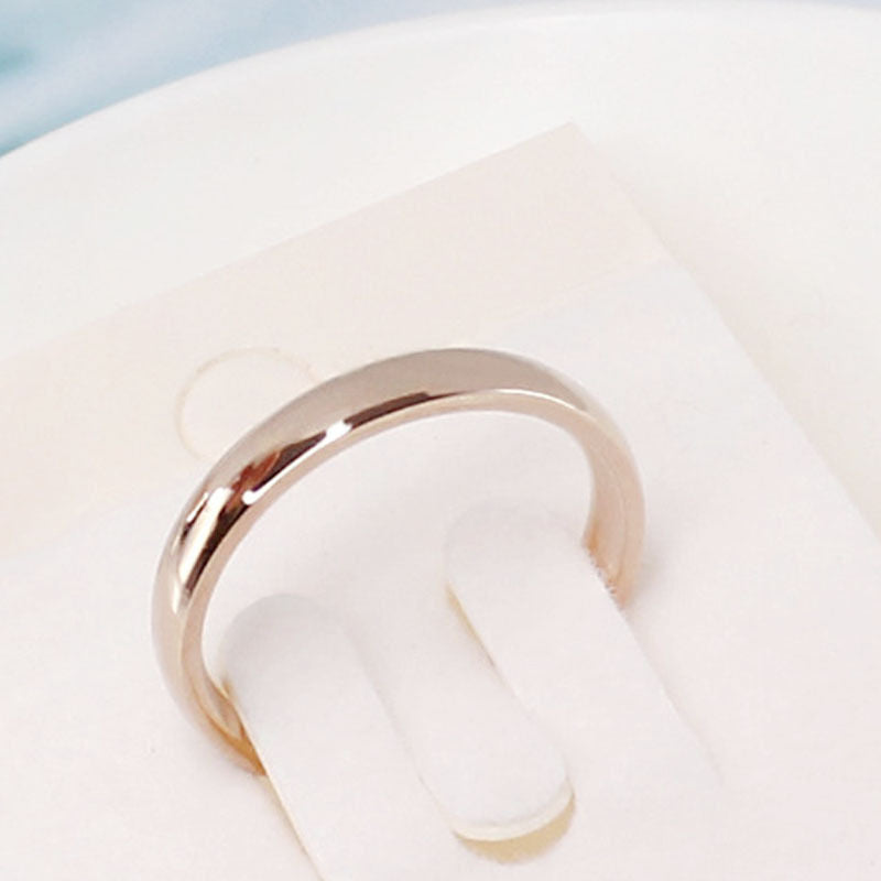 Latest Fashion Fortunately Rose Gold Women Men Polished Stainless Steel Ring Convention Jewelry Wedding Band Ring Valentine Gift - Sheseelady