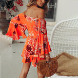 Lily Rosie Girl Off Shoulder Flare Sleeve Summer Playsuit Print Floral Boho Beach Playsuit Women Orange Short Jumpsuit Rompers - Sheseelady