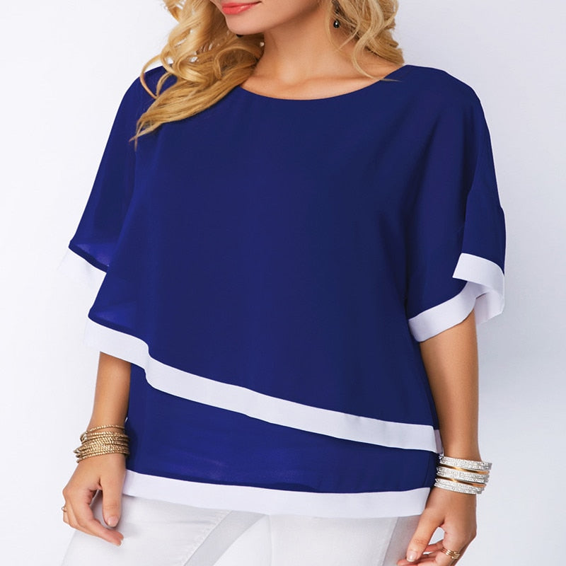 Bat Sleeve Stitching Irregular Loose Tops Women'S Plus Size Blouse - Sheseelady