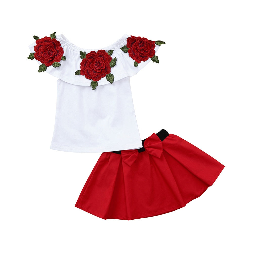 Baby Girls Clothes Suit Set 2Pcs Toddler Baby Girls Sleeveless Off Shoulder Embroidery Rose Tops+Skirts Outfits - Sheseelady