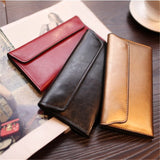 Genuine Cow Leather Magnetic Buckle Clutch Bag With Special Card Pockets - Sheseelady
