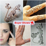 Occident Women Chic Alloy+Rhinestone Shiny Crystal Floral Ring Celebrity Party Connect Full 2 Finger Rings For Women