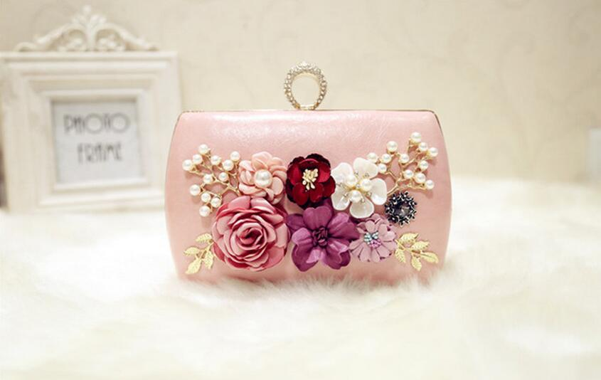 Pu Leather Metal Luxury Handmade Flowers Evening Bag