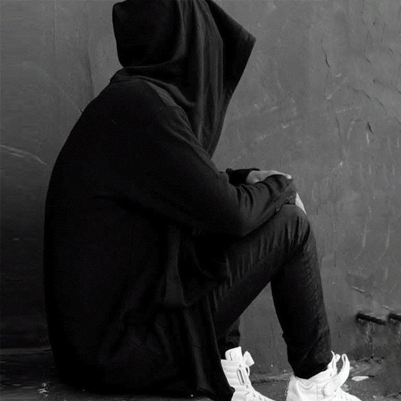 Men Hooded Sweatshirts With Black Gown Hip Hop