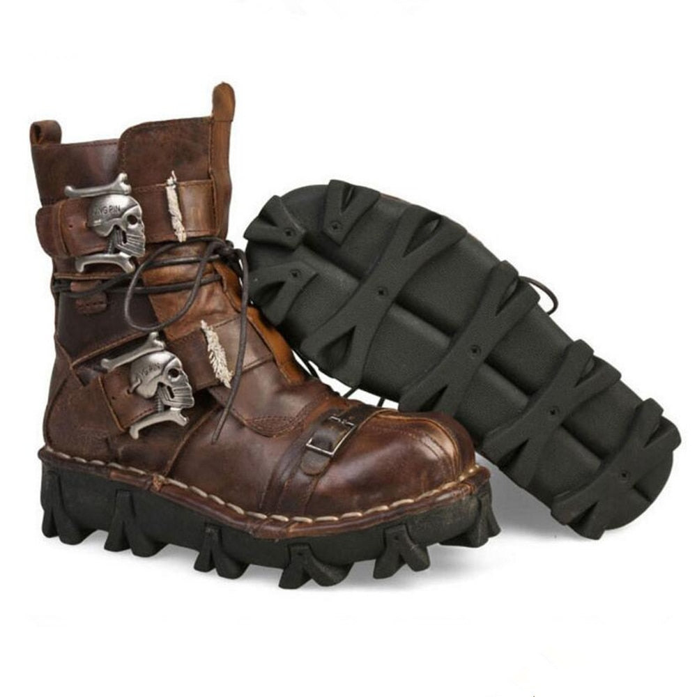 Men'S Cowhide Genuine Leather Motorcycle Boots