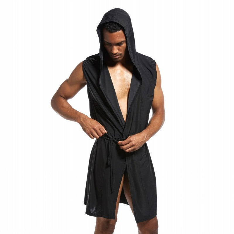 Sexy Men'S Bathrobe Ice Silk Hooded Pajamas