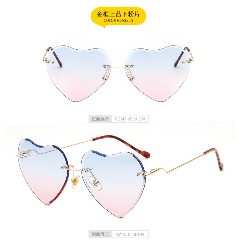 Metal Frameless Heart Sunglasses Fashion Trend Love Colorful