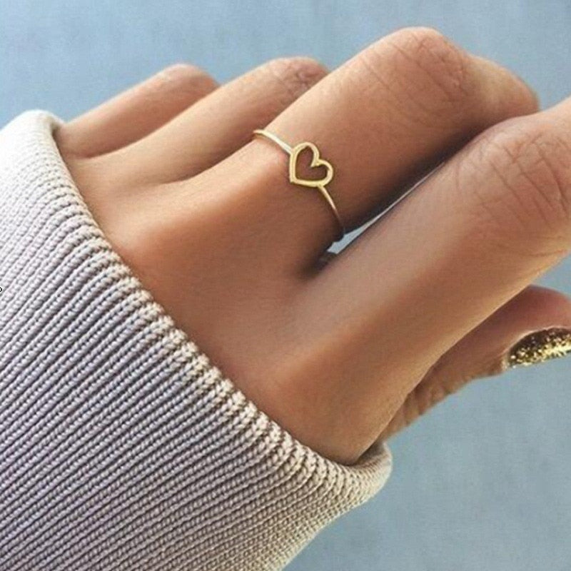 Modyle New Fashion Rose Gold Color Heart Shaped Wedding Ring For Woman