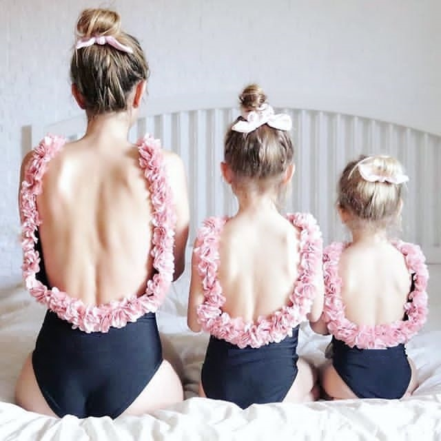 Flower Swimwear Bikini And Short Dresses For Mom And Daughter