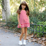 Striped And Short Sleeve Dresses For Mother Daughter