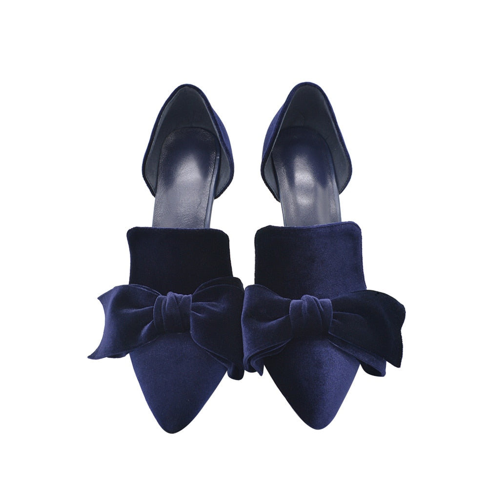 Navy Blue Brand Designer Women Shoes Pearl High Heel Pointed Toe Velvet Bow 9 Cm Stiletto Party Shoes Pumps