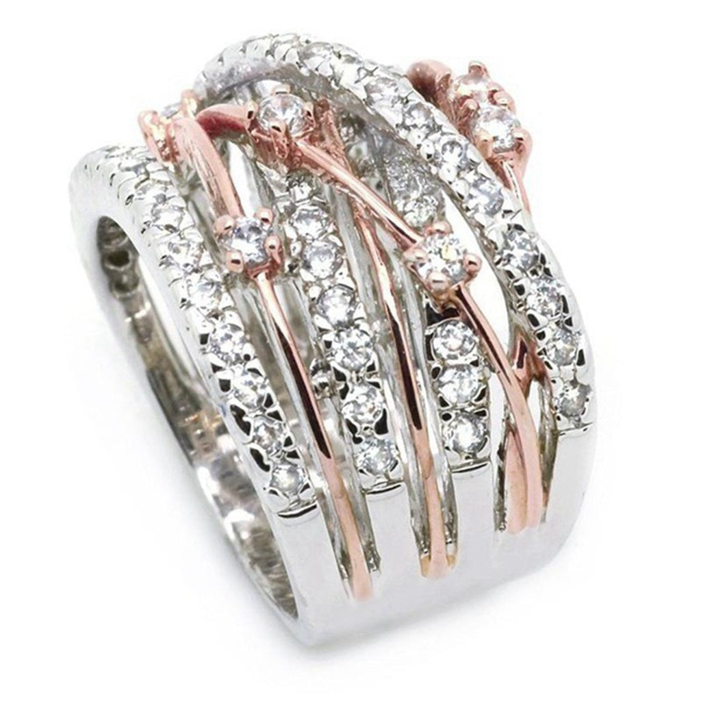 New Arrival Silver Rose Gold Zircon Stone Rings For Women Fashion Jewelry Engagement Wedding Ring