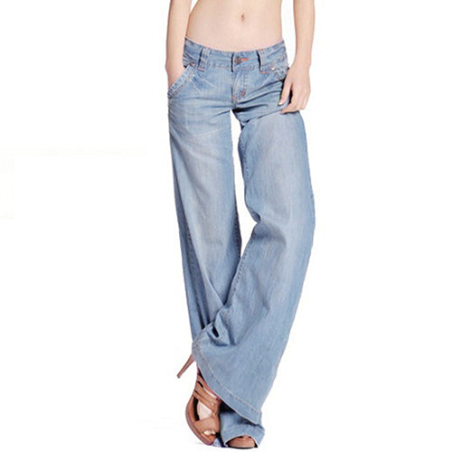 Fashion Slim Temperament Casual Vintage Wide-Legged Jeans - Sheseelady