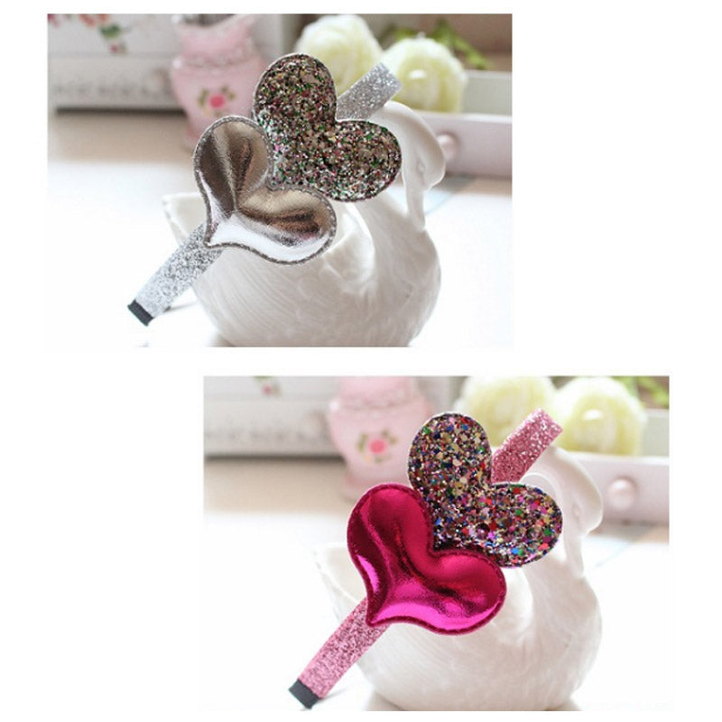 Pink Hairband Star Girls Silver Heart Sequin For Kids