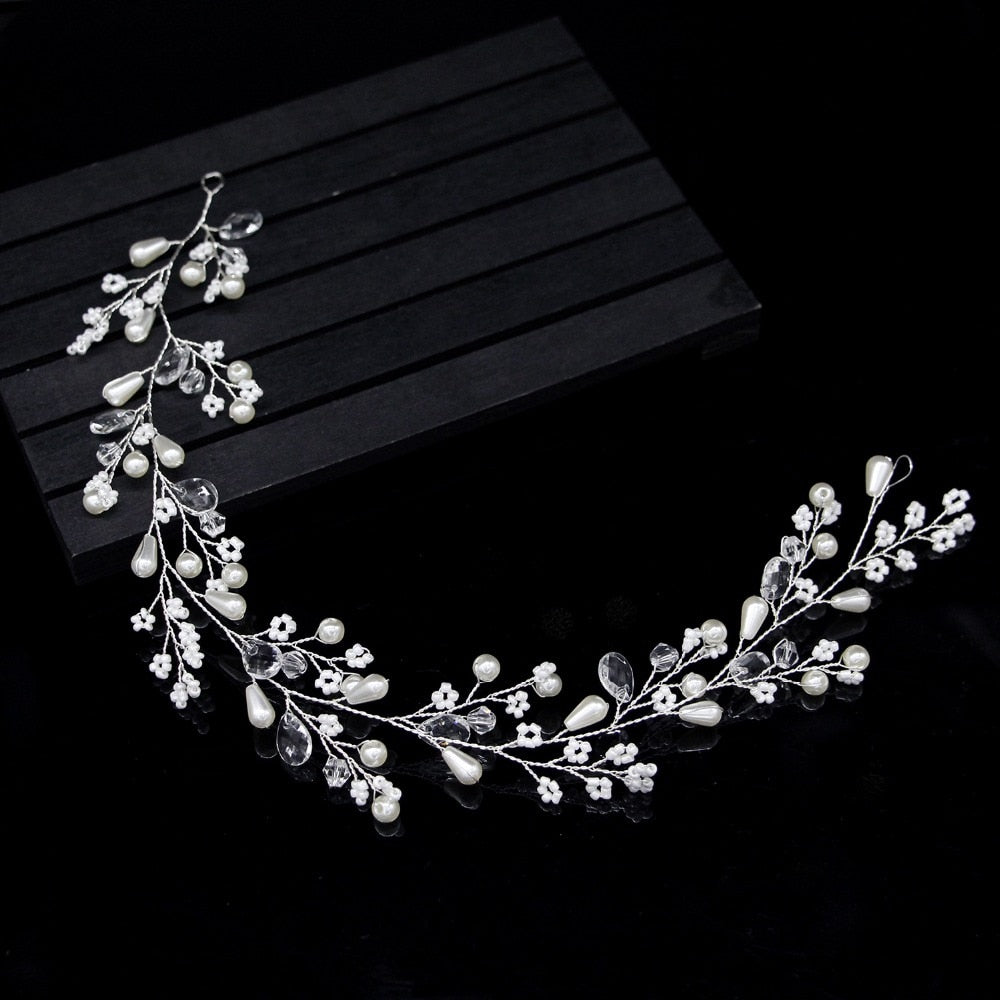 New Fashion Pearl Flower Vine Tiara Bride Hair Ornaments Wedding Accessories
