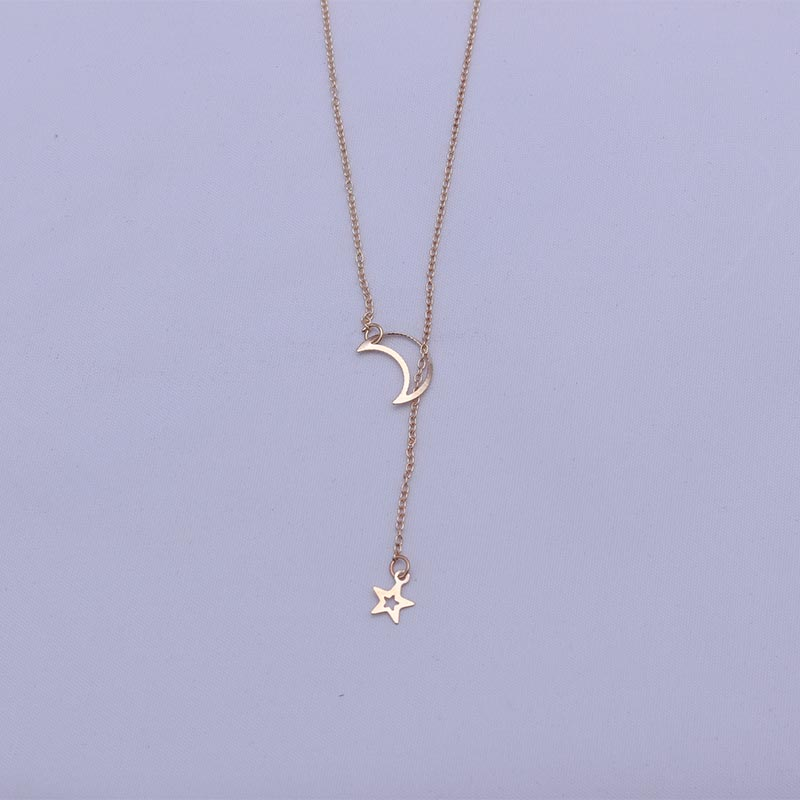 New Fashion Star Hollow Moon Pendant Chains Necklaces For Women Adjustable Gold Color Chains Collares Party Jewelry