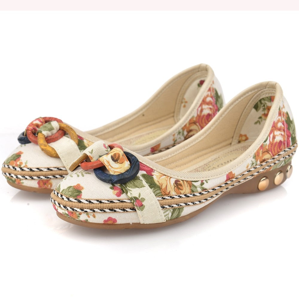 New Flowers Bowknot Handmade Shoes Women'S Floral Soft Flat Bottom Shoes Casual Sandals Folk Style Women Shoes