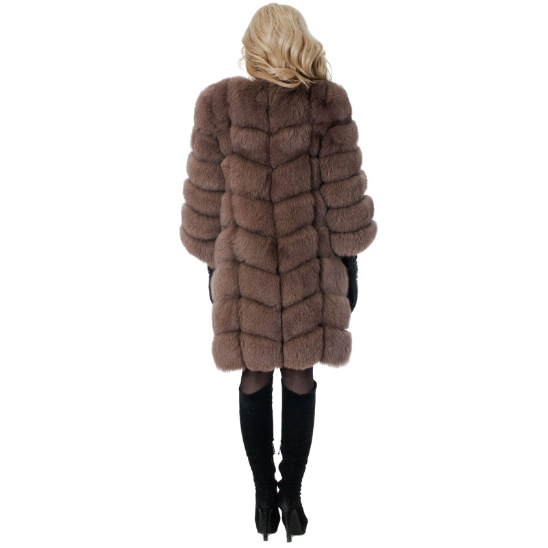 New Medium Long Fake Fox Fur Jacket Winter Faux Fox Woman