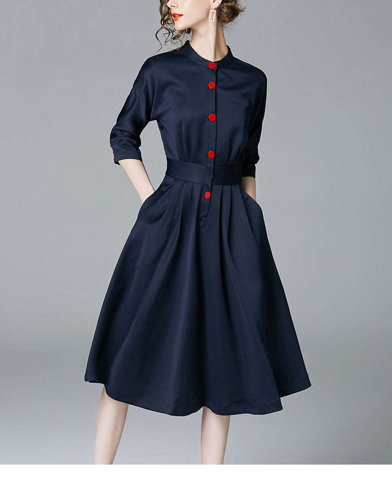 New Spring Autumn Vintage Dresses Women Slim 3/4 Sleeve A Line Office Wear Dress Elegant Laides Ol Work Business Dresses