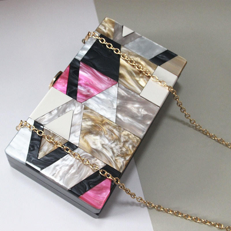 Pvc And Luxury Acrylic Geometric Lattice Patchwork Party Handbag