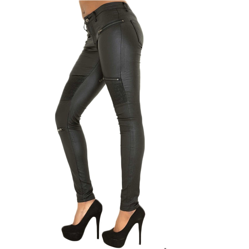 Style Fashion Woman Skinny Leather Jeans