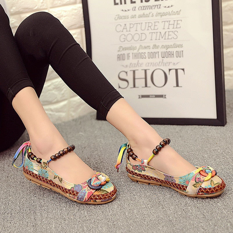 Plus Size Casual Flat Shoes Women Flats Beaded Ankle Straps Loafers Retro Ethnic Embroidered Shoes