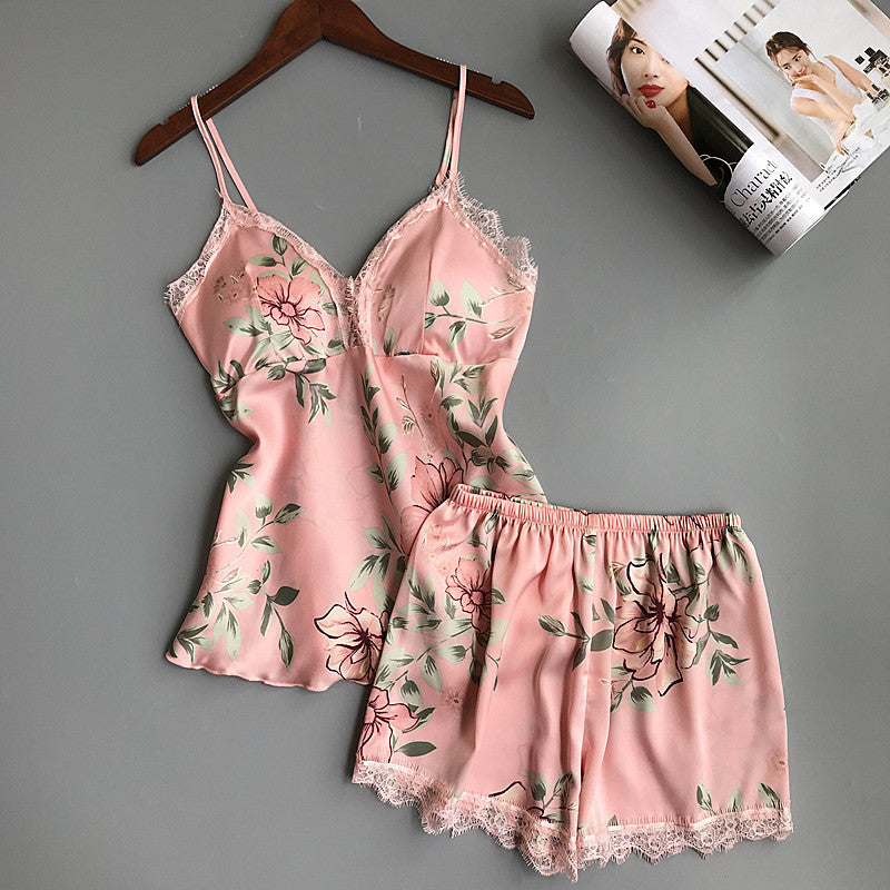 Sleep Lounge Pajama Set Sexy Satin Sleepwear Women Summer Pyjama Femme Fashion Flower Pajamas For Women With Chest Pad