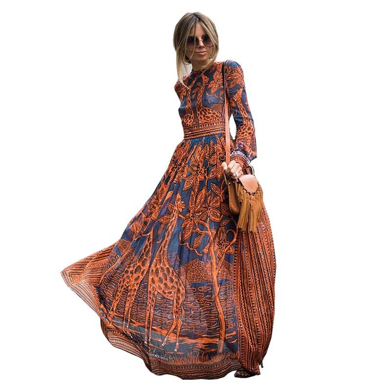 Fashion Women Long Chiffon Long Sleeve Print Maxi Dress - Sheseelady