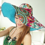 Design Flower Foldable Brimmed Sun Hat For Women Uv Protection