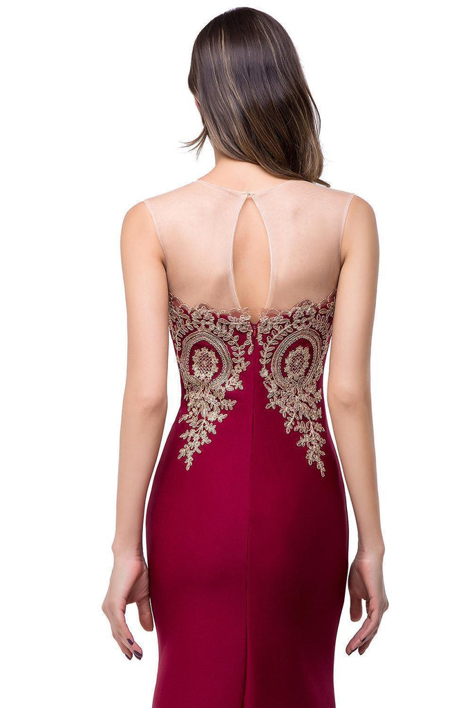 Sexy Backless Appliques Burgundy Mermaid Lace Prom Dresses