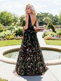 Sexy Black Bohemian V-Neck Long Prom Dress
