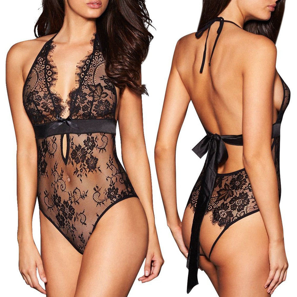 Sexy Lingerie Backless Lace Babydoll Open Crotch Underwear Black Lingerie Rhinestone Bra Straps Extenders Shoulder Cross
