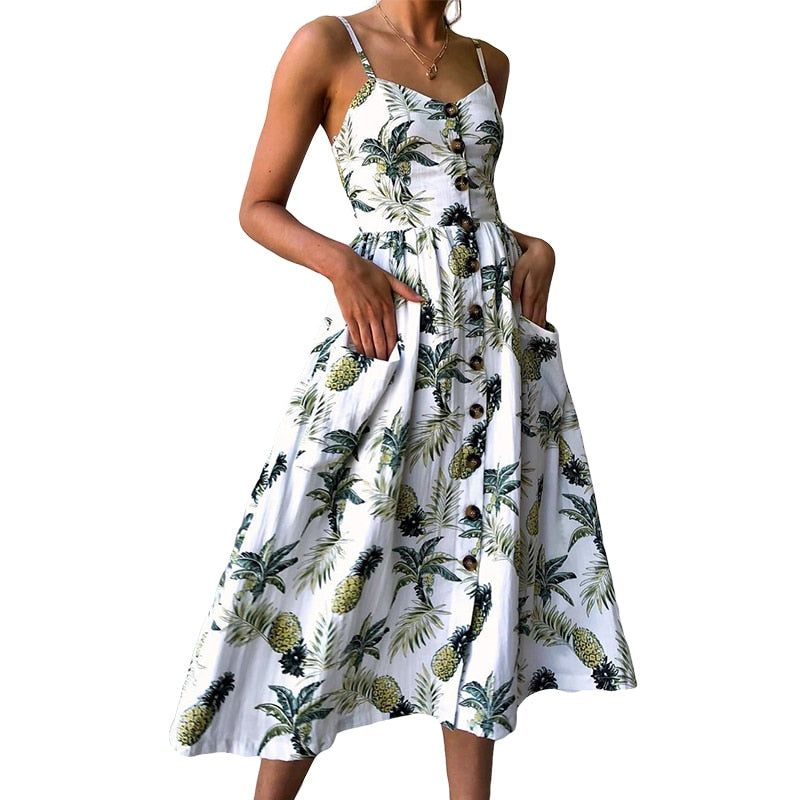 Floral Striped Button Sunflower Daisy Pineapple Midi Dresses - Sheseelady