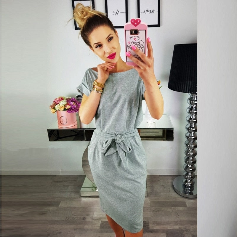 Cotton Wrap Manga Curta Camisa Solta T Shirt Midi Wrap Dress - Sheseelady
