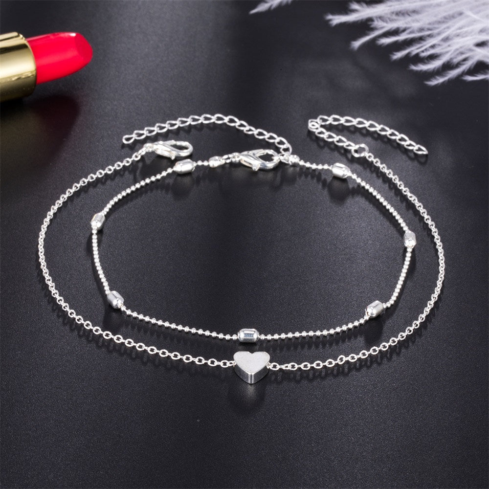 New Simple Ankle Bracelets For Women - Heart Shape Anklets Barefoot Sandals Foot Jewelry