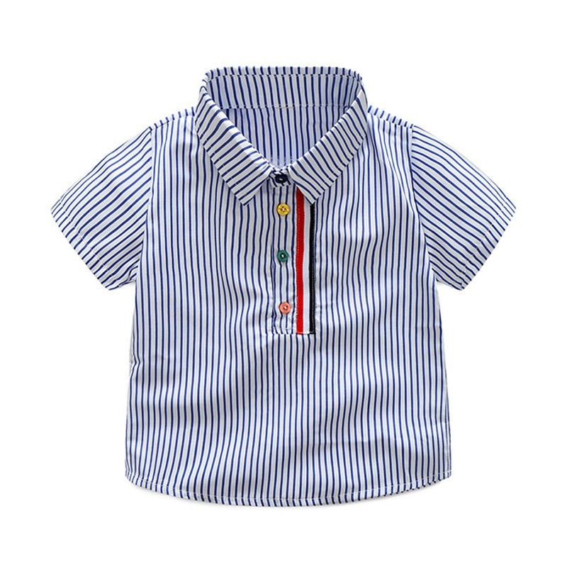 Short Sleeve Stripe Shirt+Shorts Outfits Set For Toddler Kids