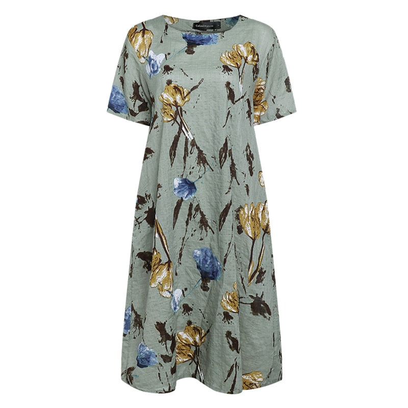 Ladies Short Sleeve Casual Floral Linen Midi Dresses