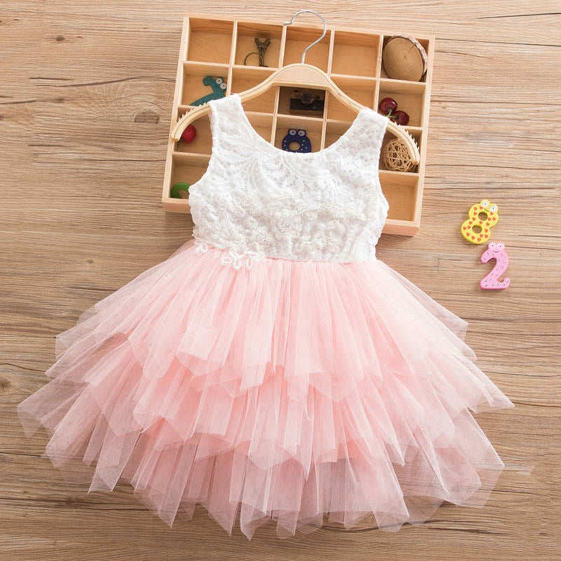 Summer Dresses For Girl Girls Clothing White Beading Princess Party Dress Elegant Ceremony 4 5 6 Years Teenage Girl Costume