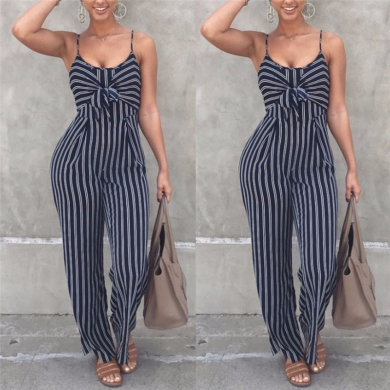 Summer New Blue Bodycon Backless Stripe Jumpsuits Women Sexy Party Clubwear Jumpsuits Casual Bowtie Overalls Jumpsuit Plus Size