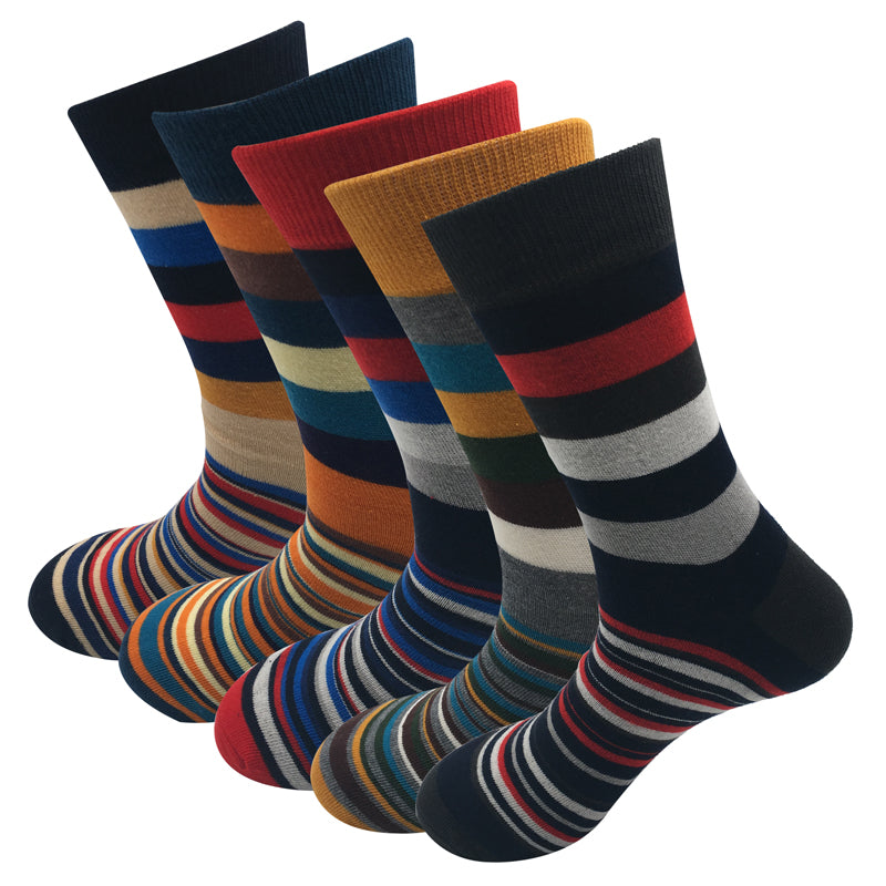 Casual Socks Color Stripes Five Pairs Of Socks Cotton Gift Box For Men'S - Sheseelady