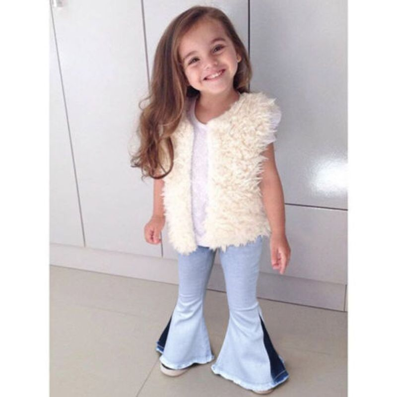 Toddler Kids Girls Denim Bell Bottom Pants Jeans And Wide Leg Trousers