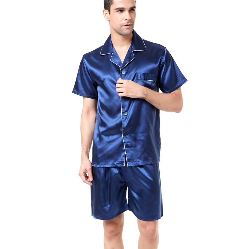 Shorts For Men Silk Sleepwear Pajama Set Soft Nightgown