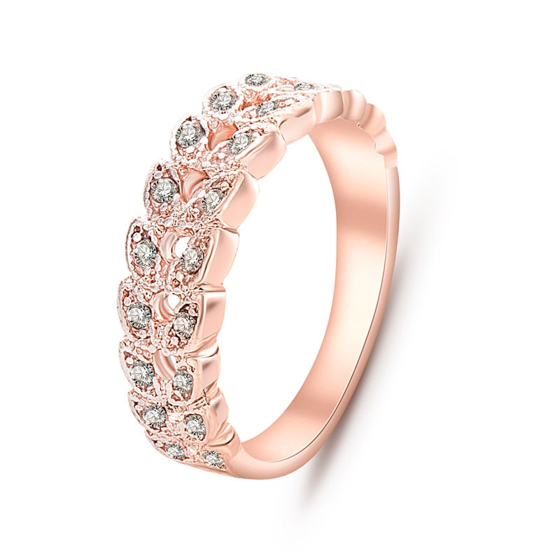 Top Quality Gold Concise Classical Cz Crystal Wedding Ring Rose Gold Color Austrian Crystals
