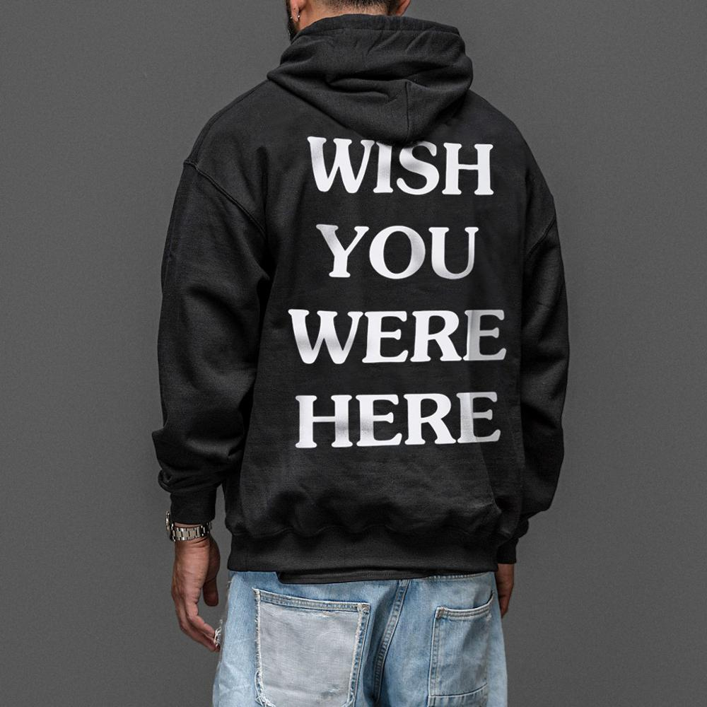 The Embroidery Letter Print Swag Wish You Were Here Hoodie