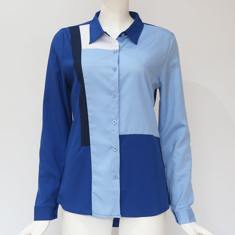 Casual Fashion Long Sleeve Turn Down Collar Office Leisure Blouse Shirt Tops Plus Size For Women - Sheseelady