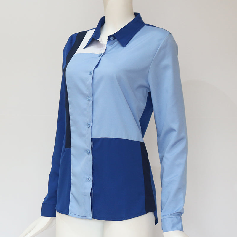Long Sleeve Turn Down Collar Office Casual Tops Plus Size Leisure Blouse Shirt