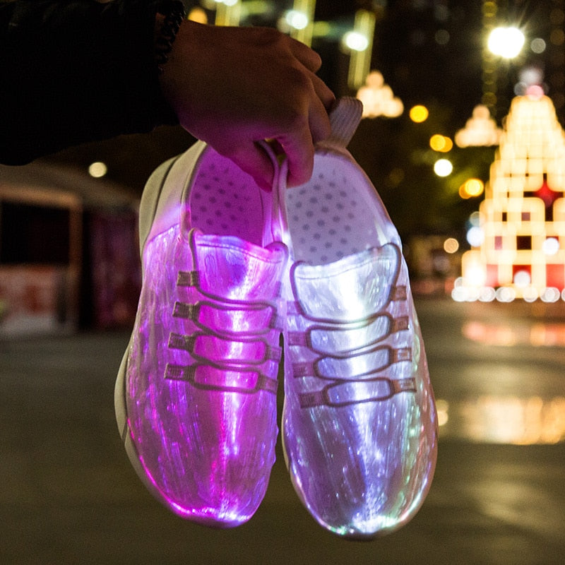 Led Fiber Optic Usb Recharge Glowing Sneakers For Unisex