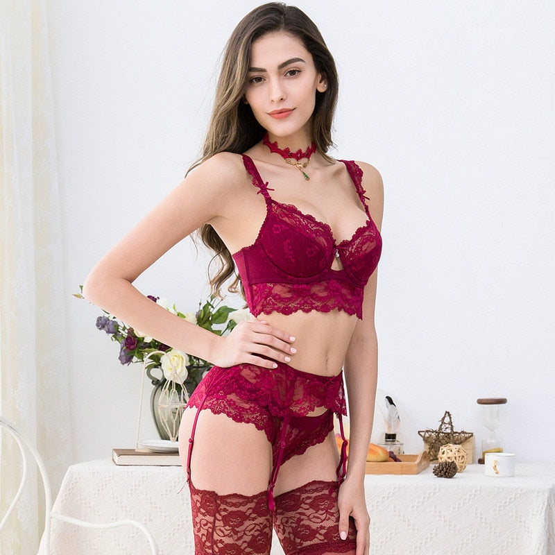 Sexy Lace Push Up Bra Sets Bra+Panties+Garter+Stockings+Necklace Christmas 5 Pcs/Lots
